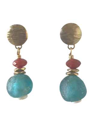 Blue glass and carnelian earrings