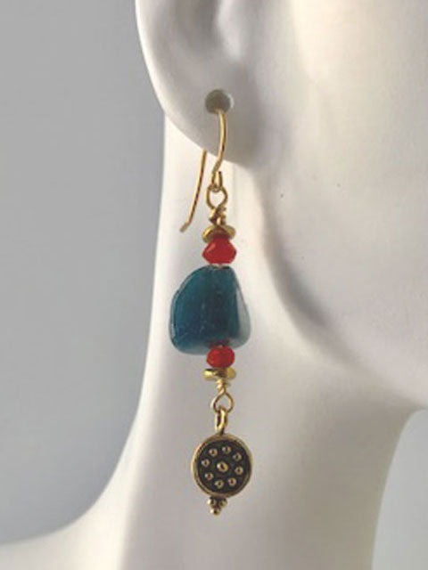 Lapis nugget brass dangle earrings