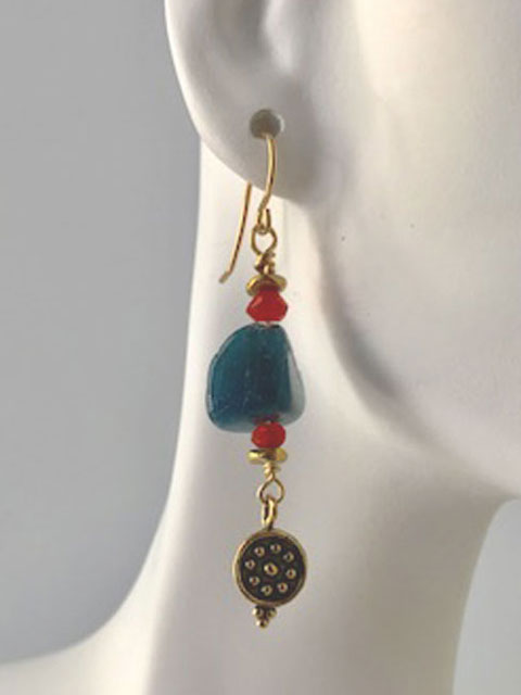 Lapis nugget and brass dangle earrings