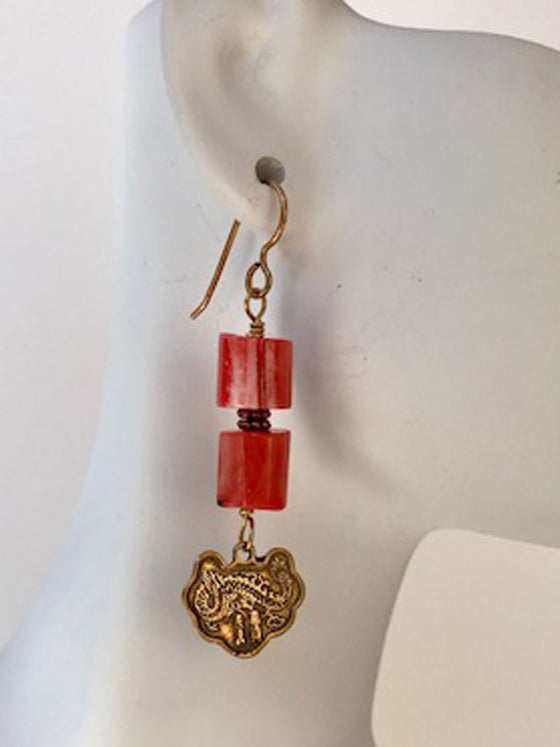 Coral tubes and bronze dangle earrings