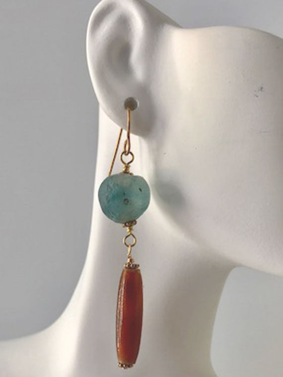 Blue glass and horn earrings