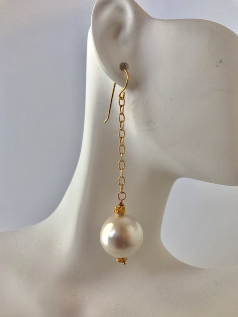 White large pearl and chain earrings