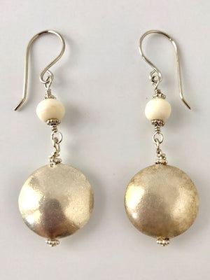 Bone and brushed silver earrings