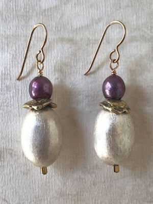 Purple pearl and brushed silver earrings