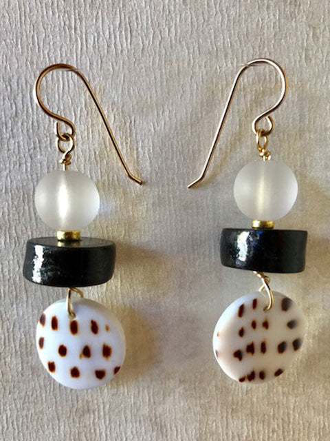 Shell, black coral and lucite earrings