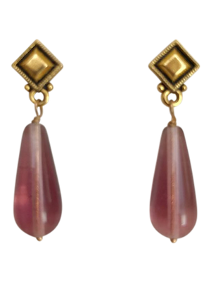 Gold deco post mauve crystal earrings