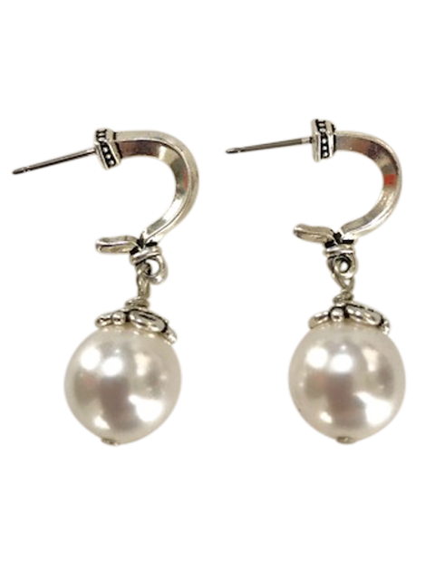 Silver grecian posts white pearl earrings