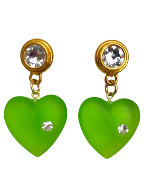 Gold and crystal post green lucite heart earrings