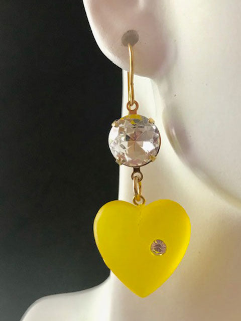 Gold and crystal yellow lucite earrings