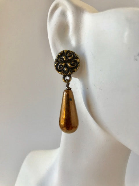 Brass flower golden Czech glass teardrop earrings