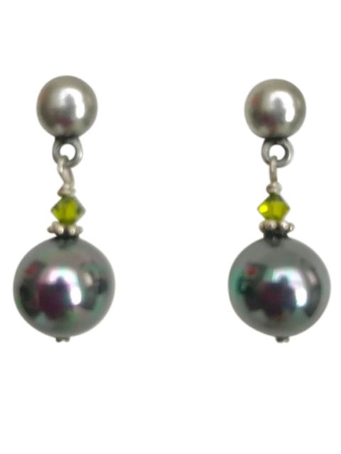 Silver dome post iridescent green pearl earrings
