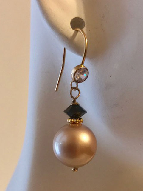 Pearl and black crystal accent earrings