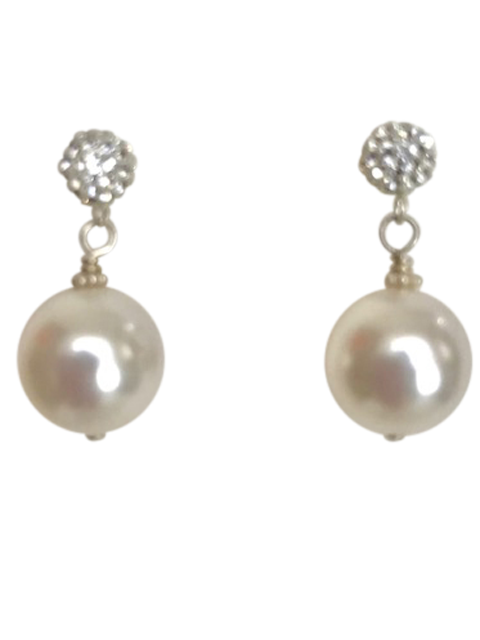 Silver crystal ball post white pearl earrings