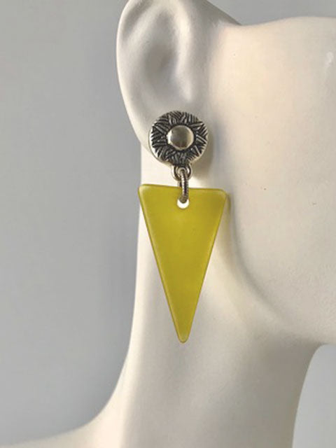 Silver sun motif post green triangle earrings