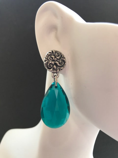 Silver flower teal lucite pear drop earrings