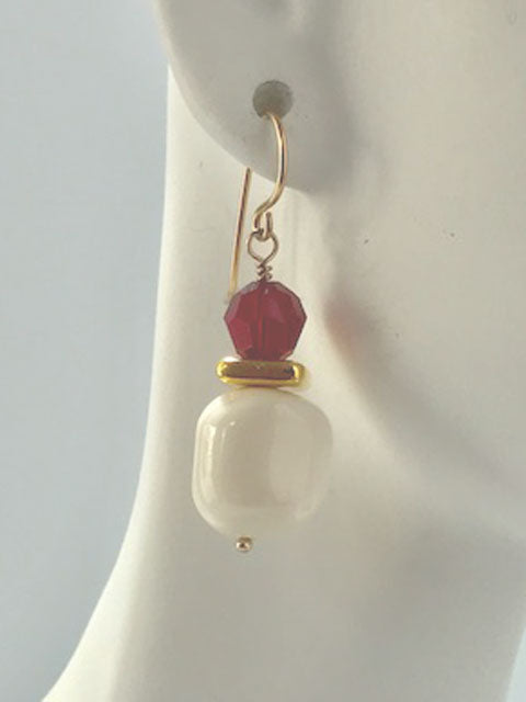 White bead and red crystal earrings