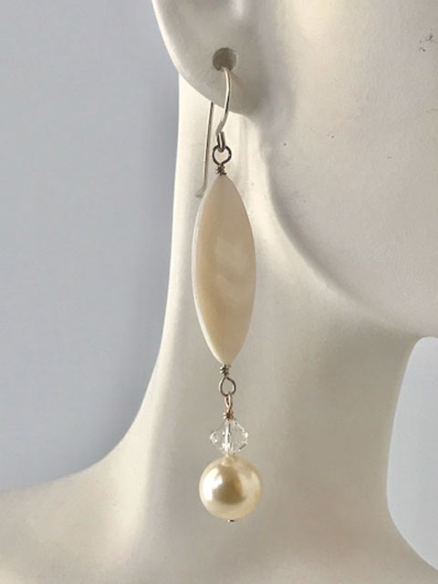 Mother of pearl and crystal pearl earrings