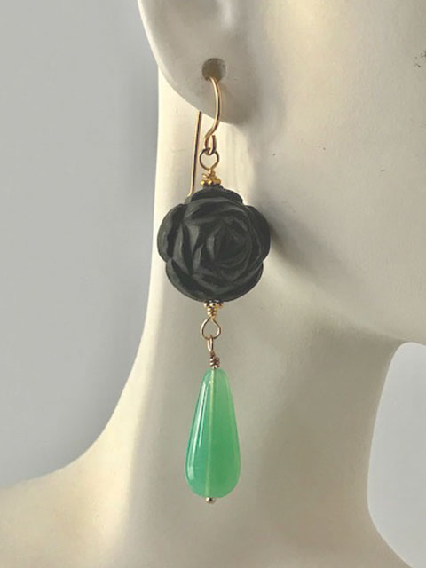 Dark blue carved and opal glass earrings
