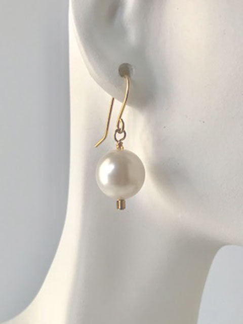 White pearl and seed bead earrings