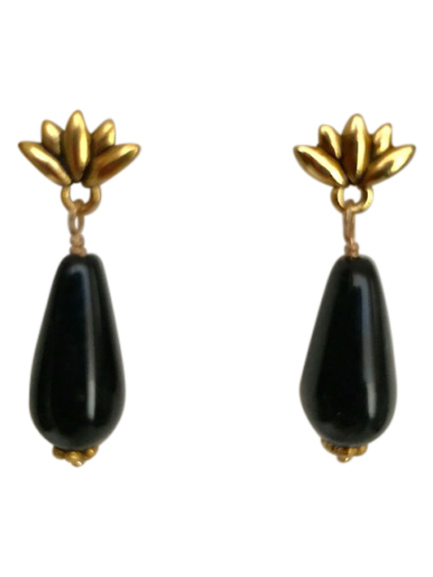 Gold lotus onyx Czech teardrop earrings