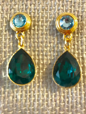 Blue crystal post pear bezel drop earrings