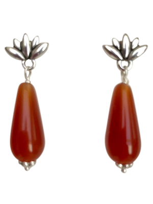 Silver lotus carnelian Czech teardrop earrings