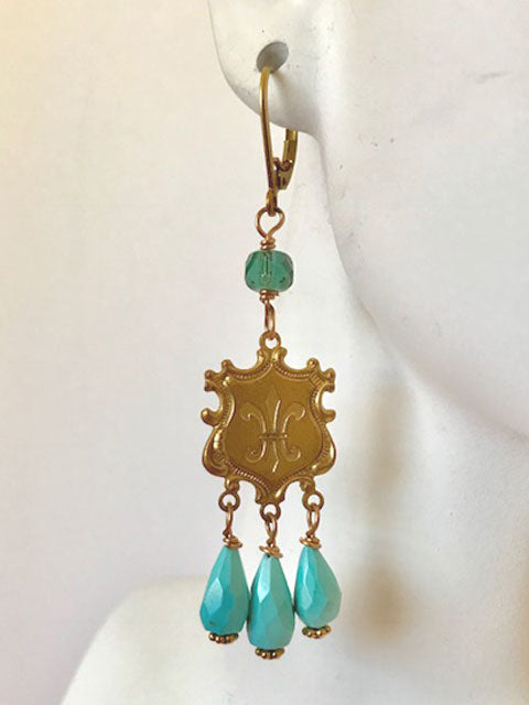 Brass fleur de lis turquoise drop earrings