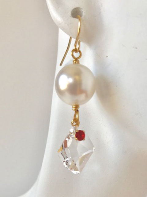 White pearls crystal drops with rose accent earrings