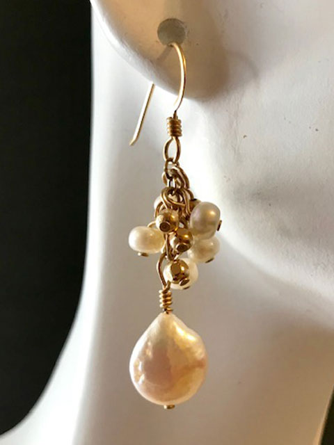 White pearl briolette and cluster earrings
