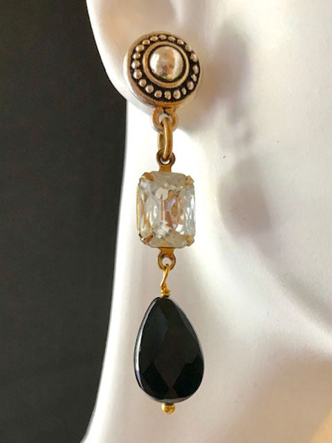 Crystal and onyx dangle gold tone earrings