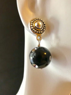 Silver dot posts black lucite ball earrings