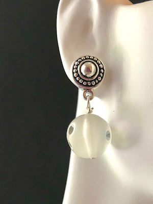 Silver and dotted post frosted lucite ball earrings
