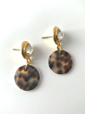 Clear bezel post shell drop earrings
