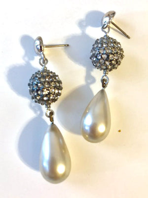 Crystal and grey pearl drop earrings