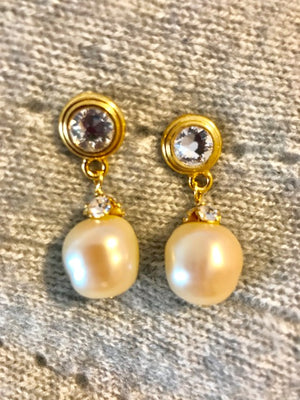 Pearl and crystal cap earrings