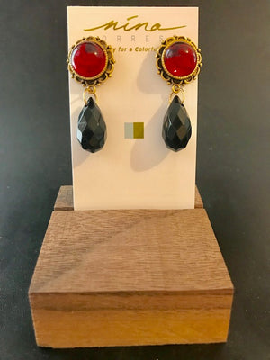 Red cabochon ornate bezel earrings