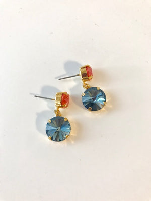 Coral and blue crystal post earrings