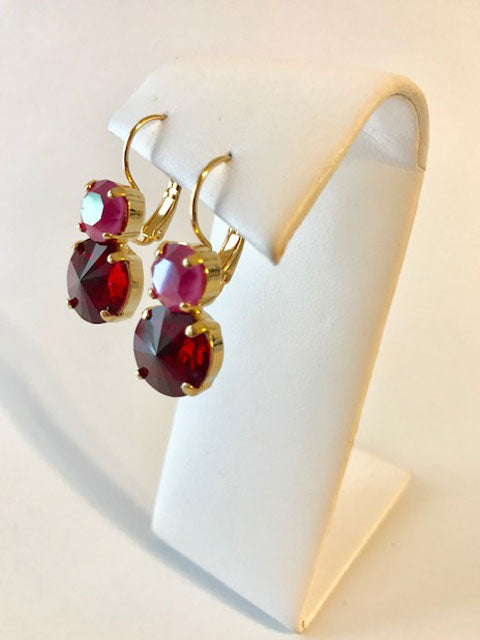 Pink and red crystal leverback earrings