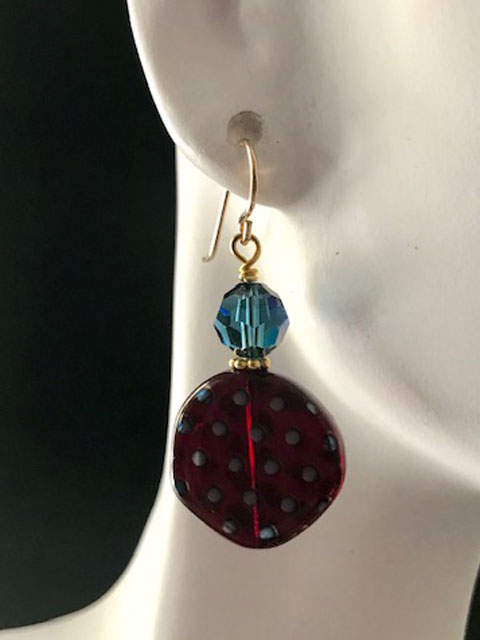 Dotted glass blue crystal earrings