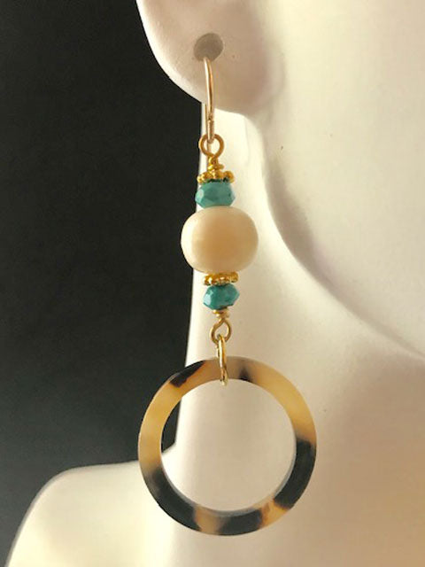 Tortoise bone and turquoise earrings