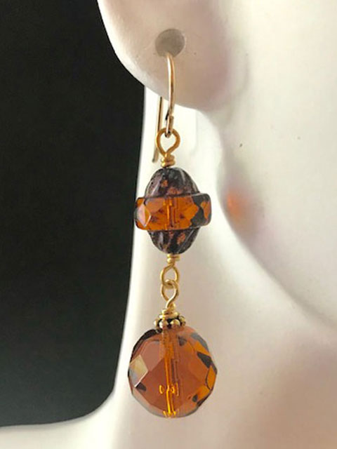 Rust and brown crystal bead earrings