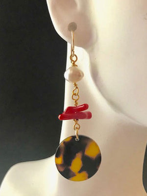Tortoise red coral and pearl earrings
