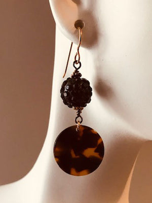 Black crystal ball & tortoise disk earrings