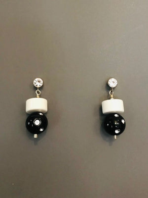 Black and white lucite earrings