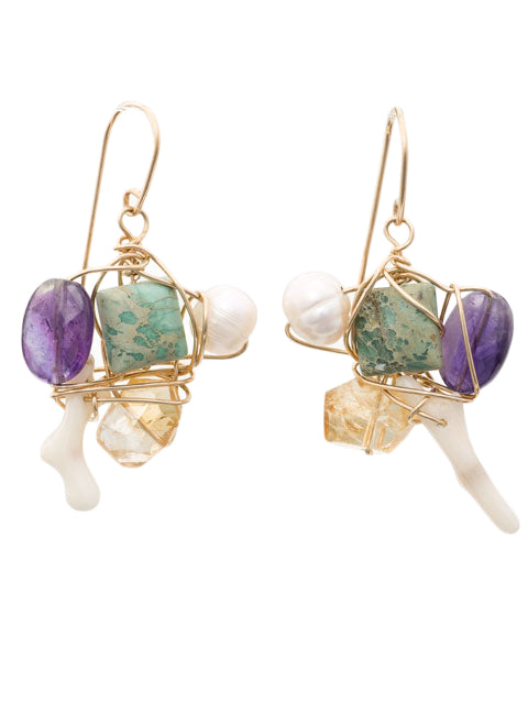 Wire wrapped coral, citrine, jasper, pearl and amethyst earrings