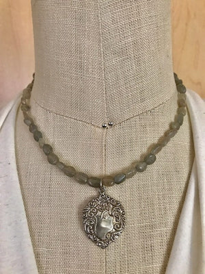 Labradorite and fancy silver pendant necklace