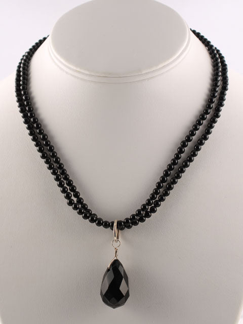N007 Onyx two strand bead and briolette necklace