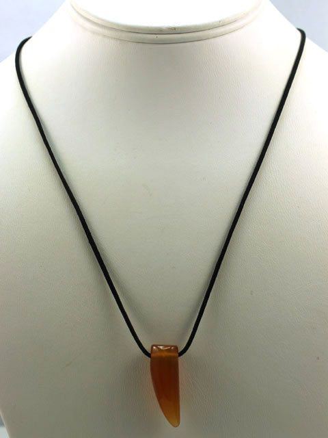N025 Carnelian pendant on black silk cord necklace