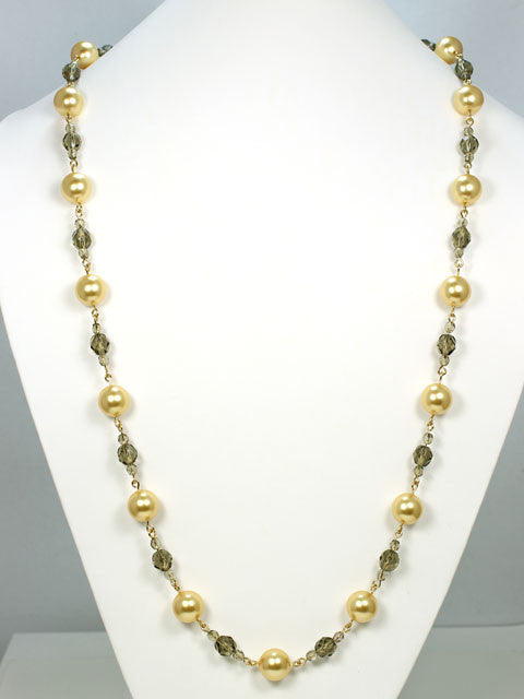 N026B Chanel style gold pearls with crystals necklace