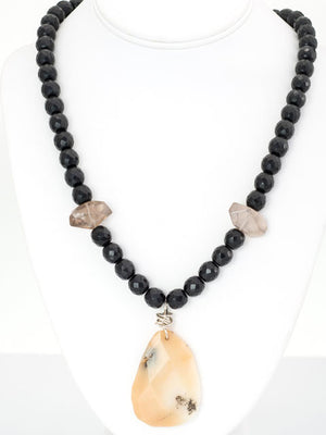 Onyx and yellow opal pendant necklace